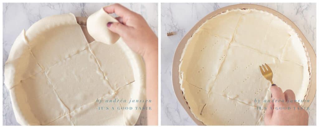 Bekleed de quiche vorm met bladerdeeg
