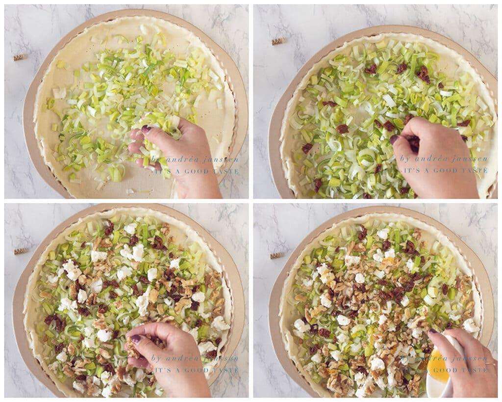 Verdeel de ingrediënten over de bodem van de quiche
