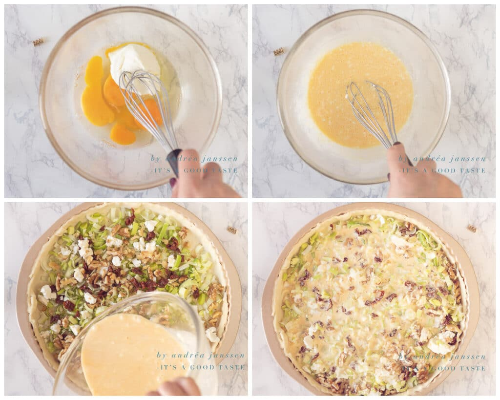 Maak de vulling en giet die over de quiche