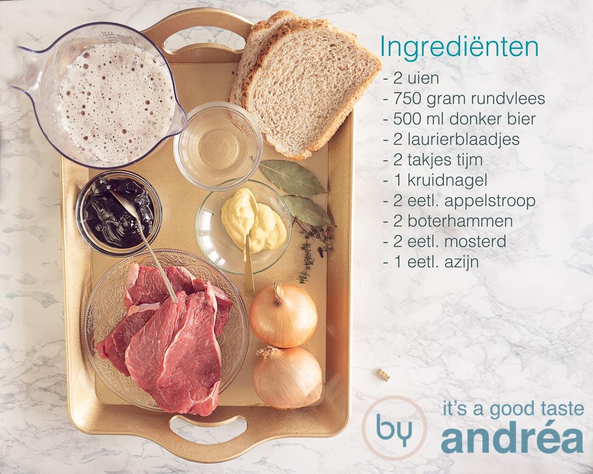 Ingredienten om Vlaams stoofvlees te maken