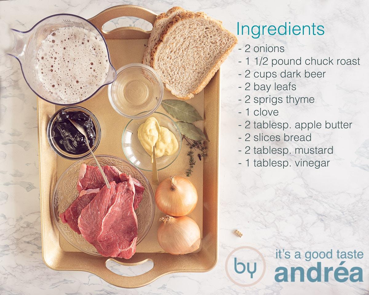Ingredients Belgian beef stew (stoofvlees)