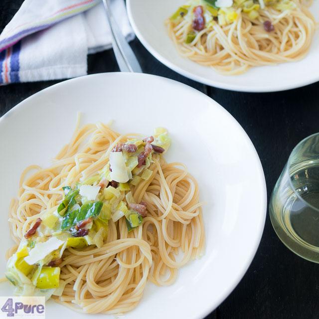 Spaghetti met prei en mascarpone - spaghetti with leeks and mascarpone
