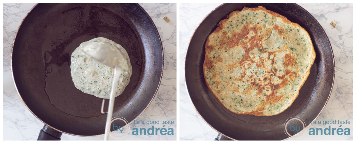 Bake the spinach batter in a frying pan