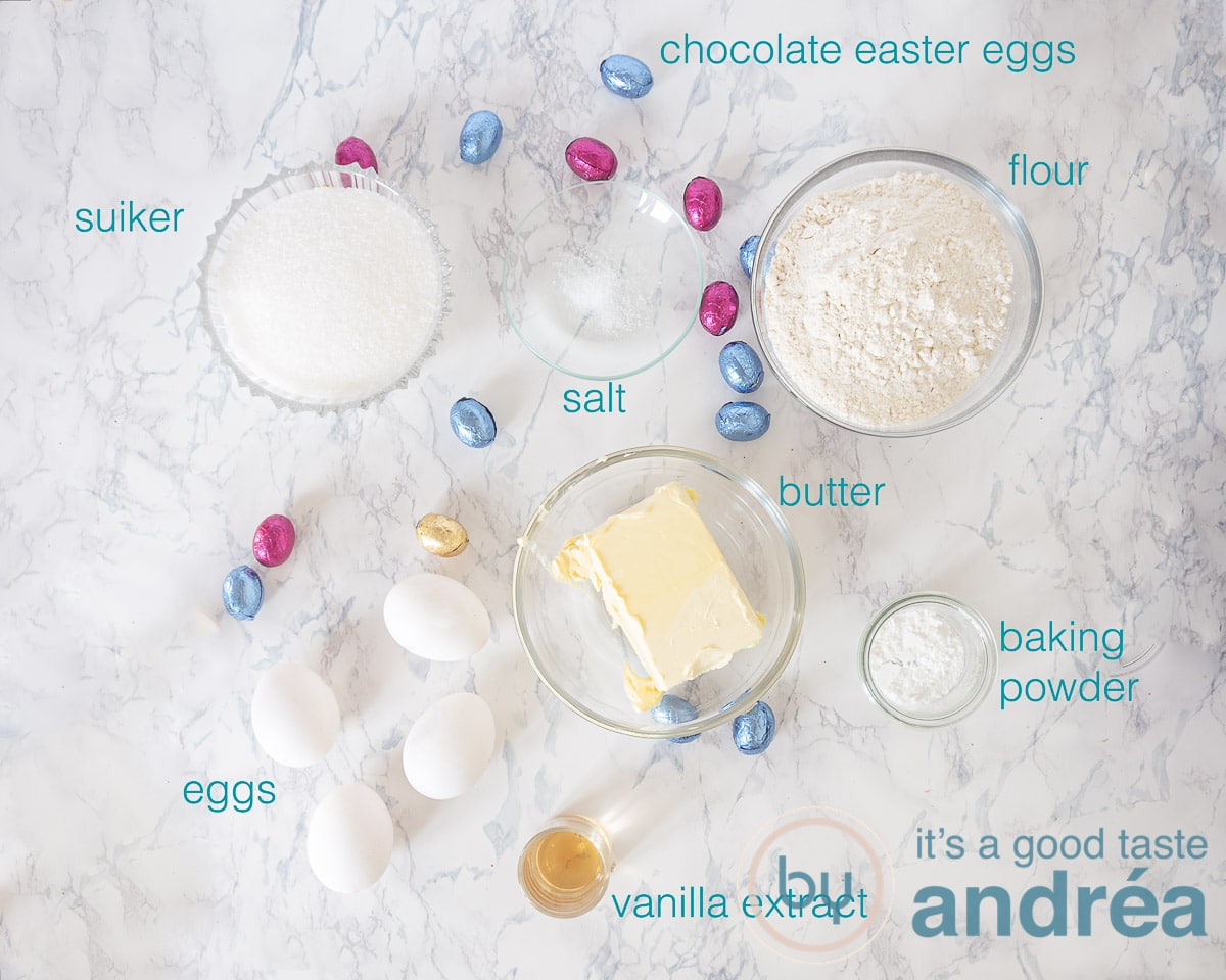 Ingredients Easter pound cake with chocolate eggs