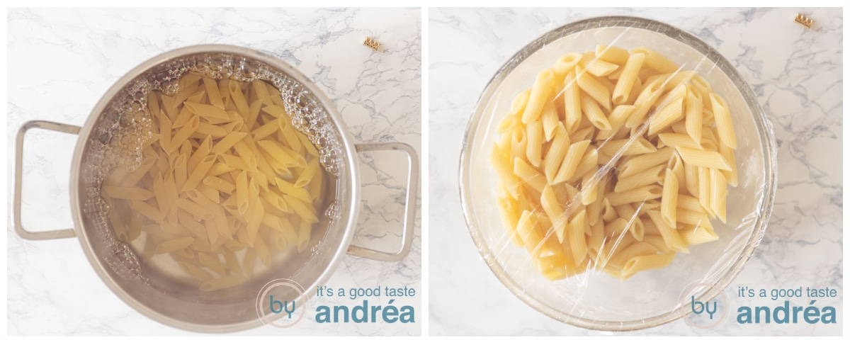 Cook the pasta and let it cool in a bowl