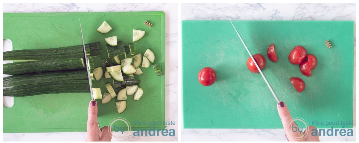 Slice the cucumber and cherry tomatoes