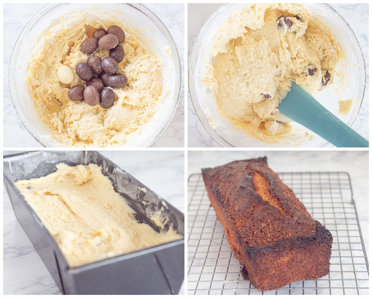 Swirl the chocolate eggs to the batter and bake the cake