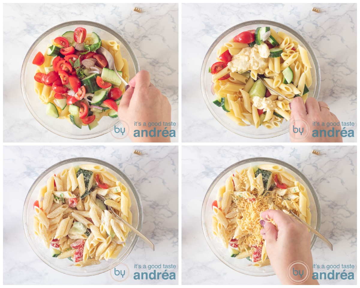 4 bowls which shows the step to create the pasta salad