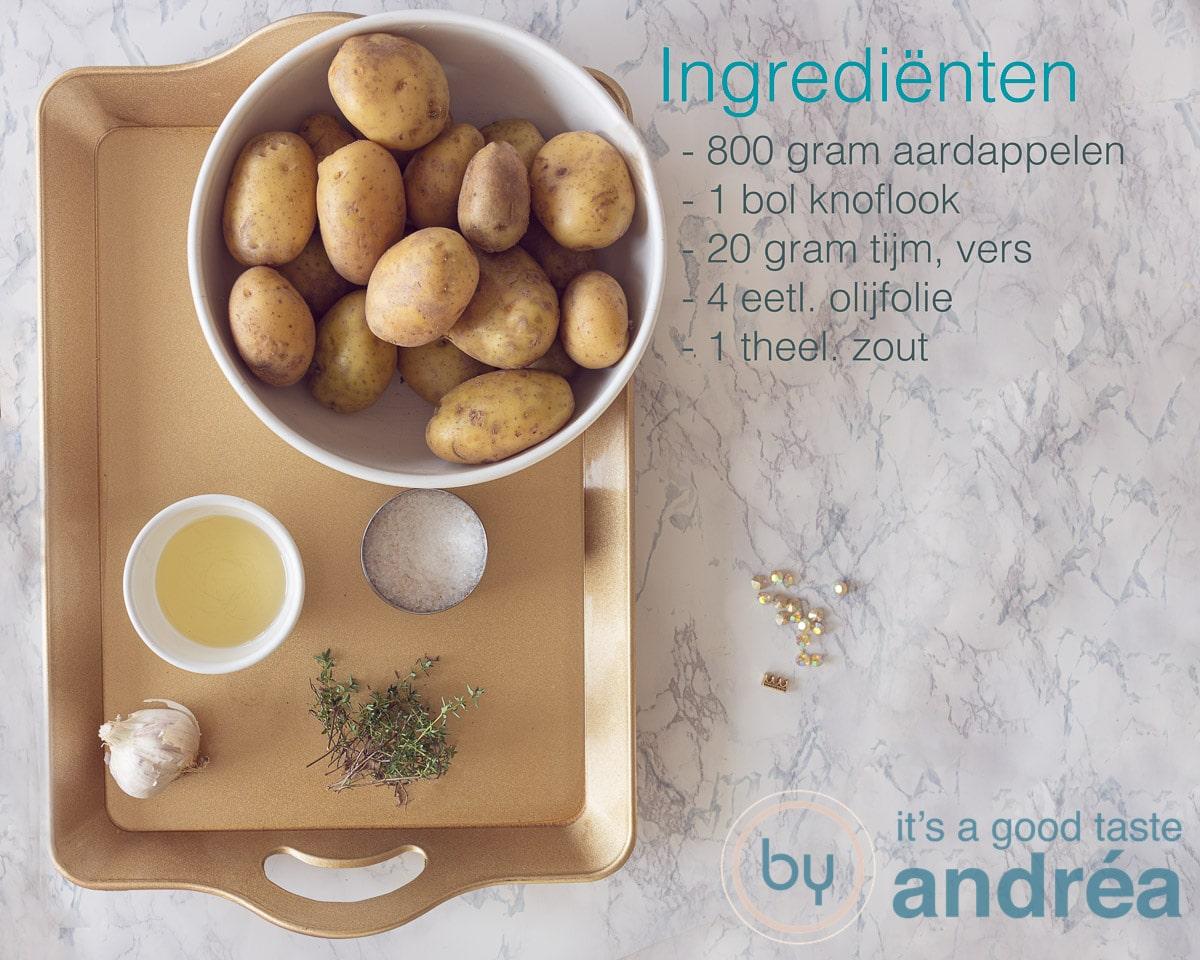 Ingrediënten Aardappels uit de oven {met tijm en knoflook}