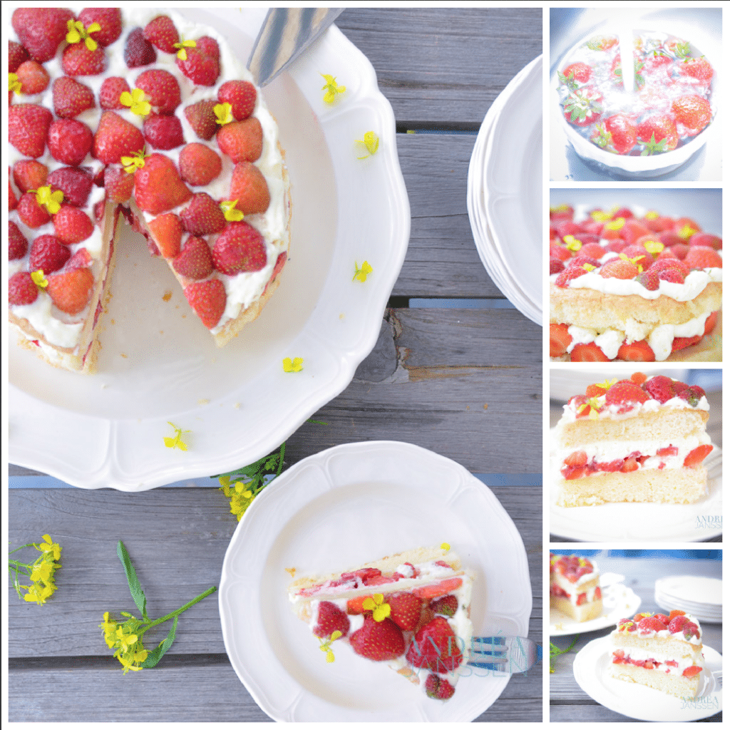 Aardbeien chiffon cake overzicht van hele taart en stukjes