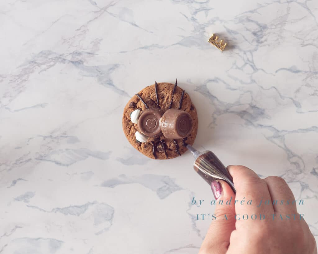 Maak met chocolade frosting pootjes op het koekje