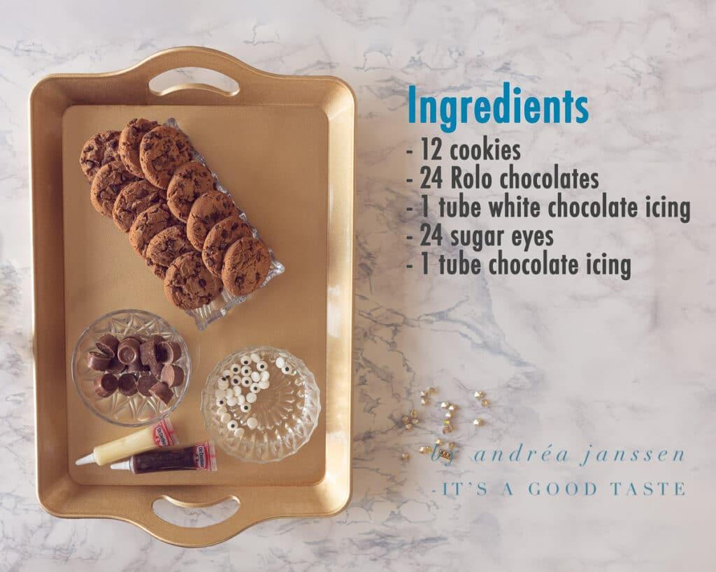 Ingredients Spider cookies for Halloween