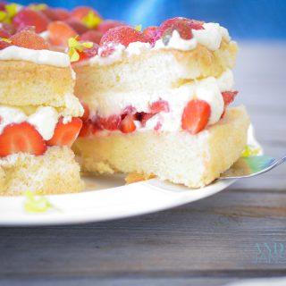 Strawberry chiffon cake part on a cake spoon
