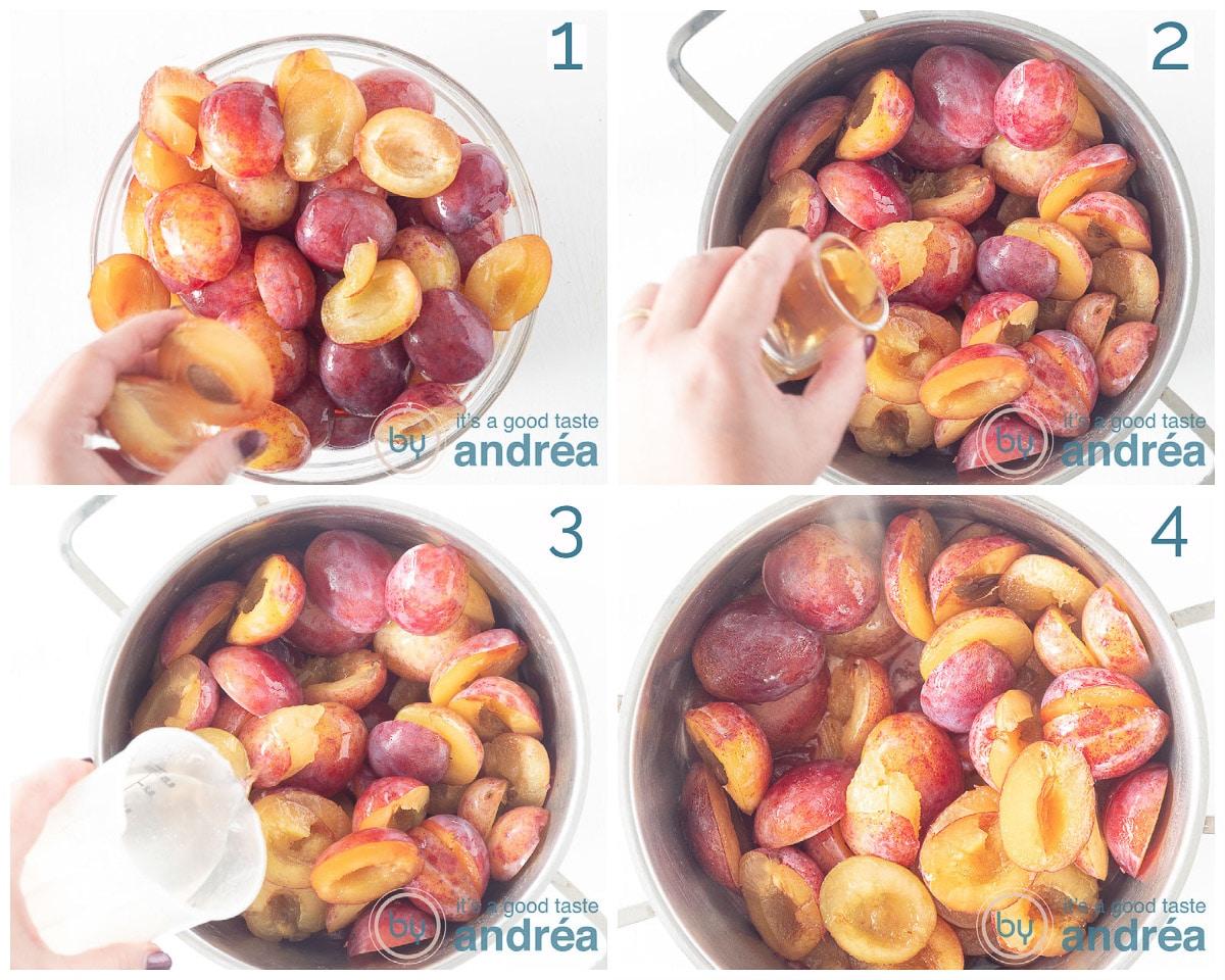 Halveer de pruimen en doe in een pan. Schep er vanille, water bij en breng aan de kook