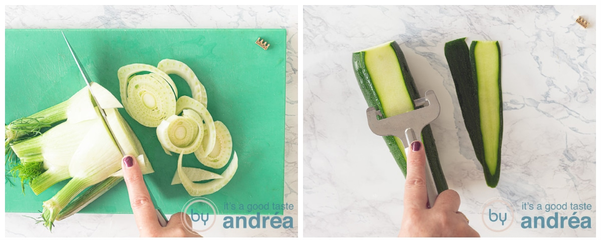 Cut fennel and slice the zucchini