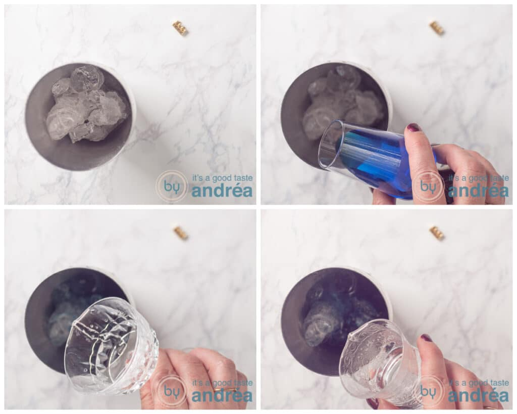 Doe ijs in een shaker en vervolgens verschillende likeuren