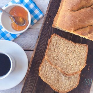 slices of Whole grain spelt bread with coffee and jelly
