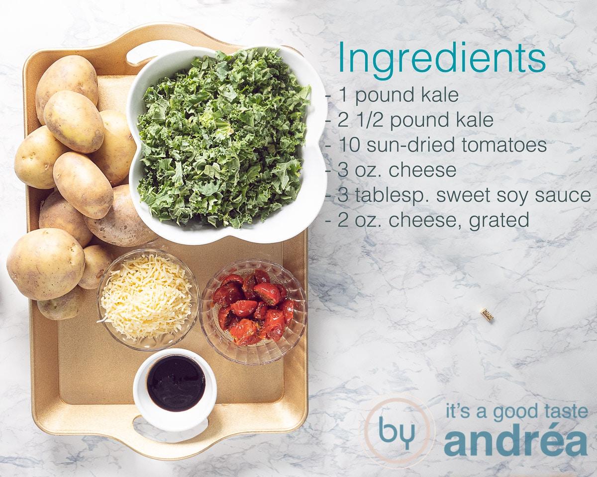 Ingredients for a kale potato casserole