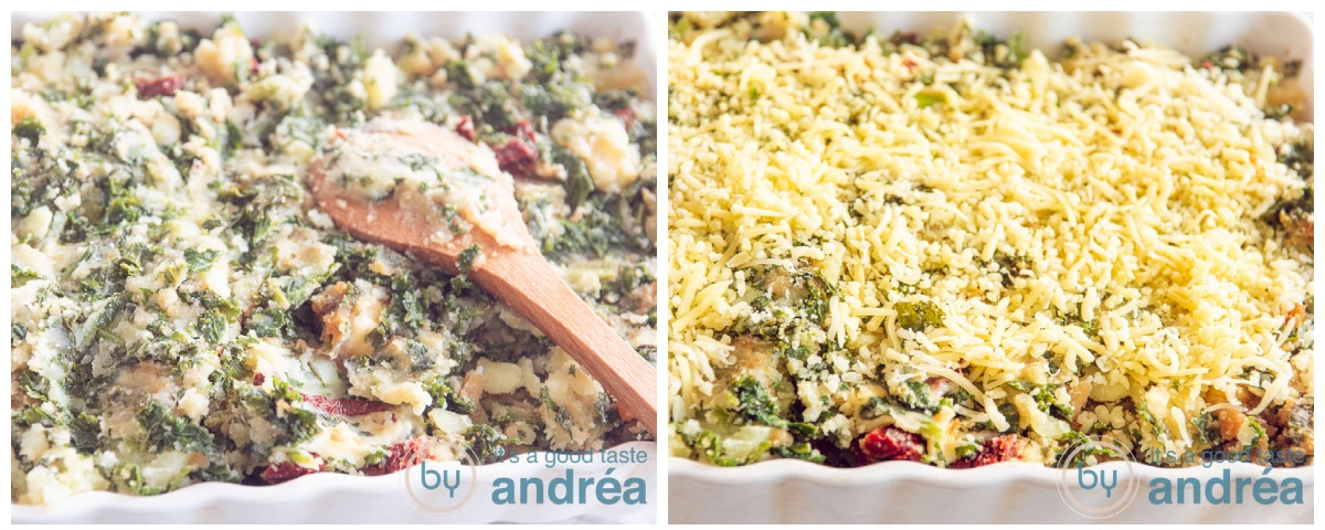 a casserole dish filled with kale and potato and then topped with grated cheese