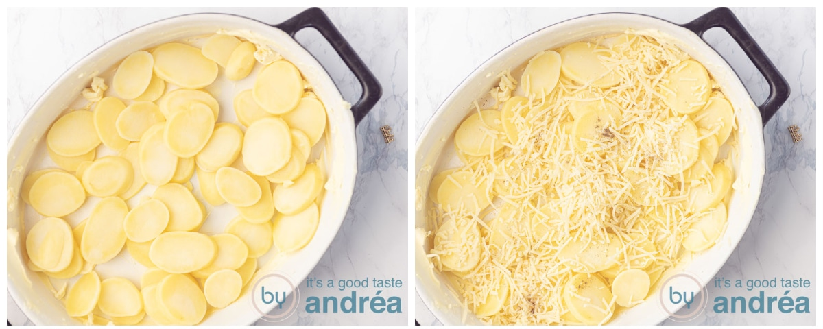 Layer potato slices and top with cheese, salt and pepper