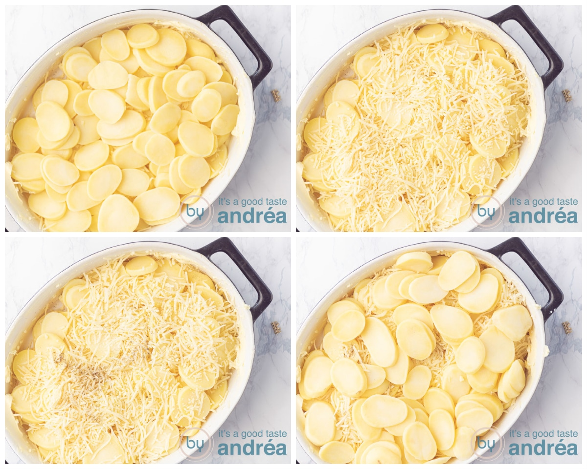 Add a second layer potatoes, cheese, salt and pepper and a third layer