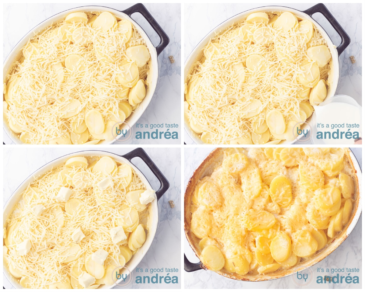 Top with cheese, add the milk, cubes of butter and bake in the oven