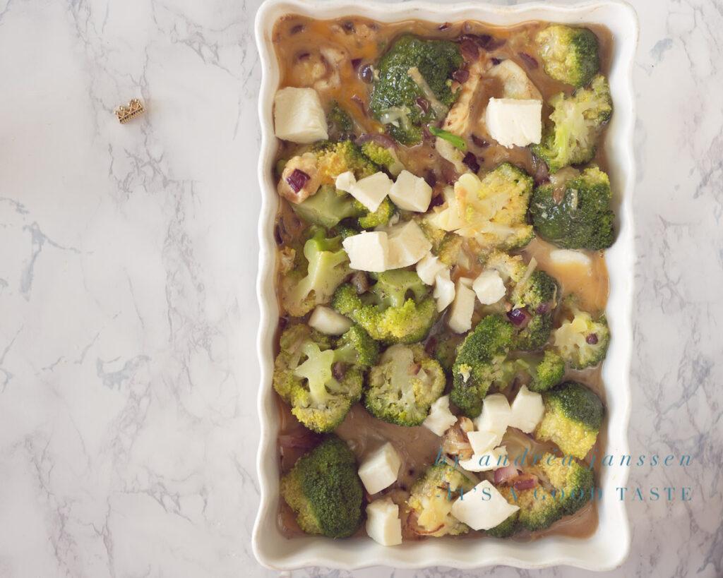 Add Mozzarella cubes to the frittata
