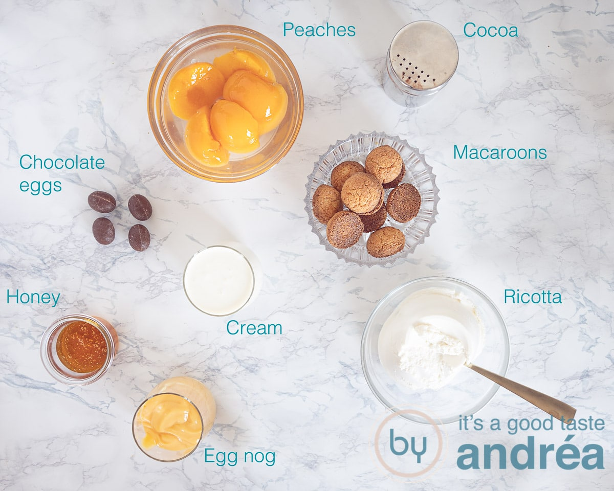 Ingredients for a tiramisu with Dutch eggnog and peaches