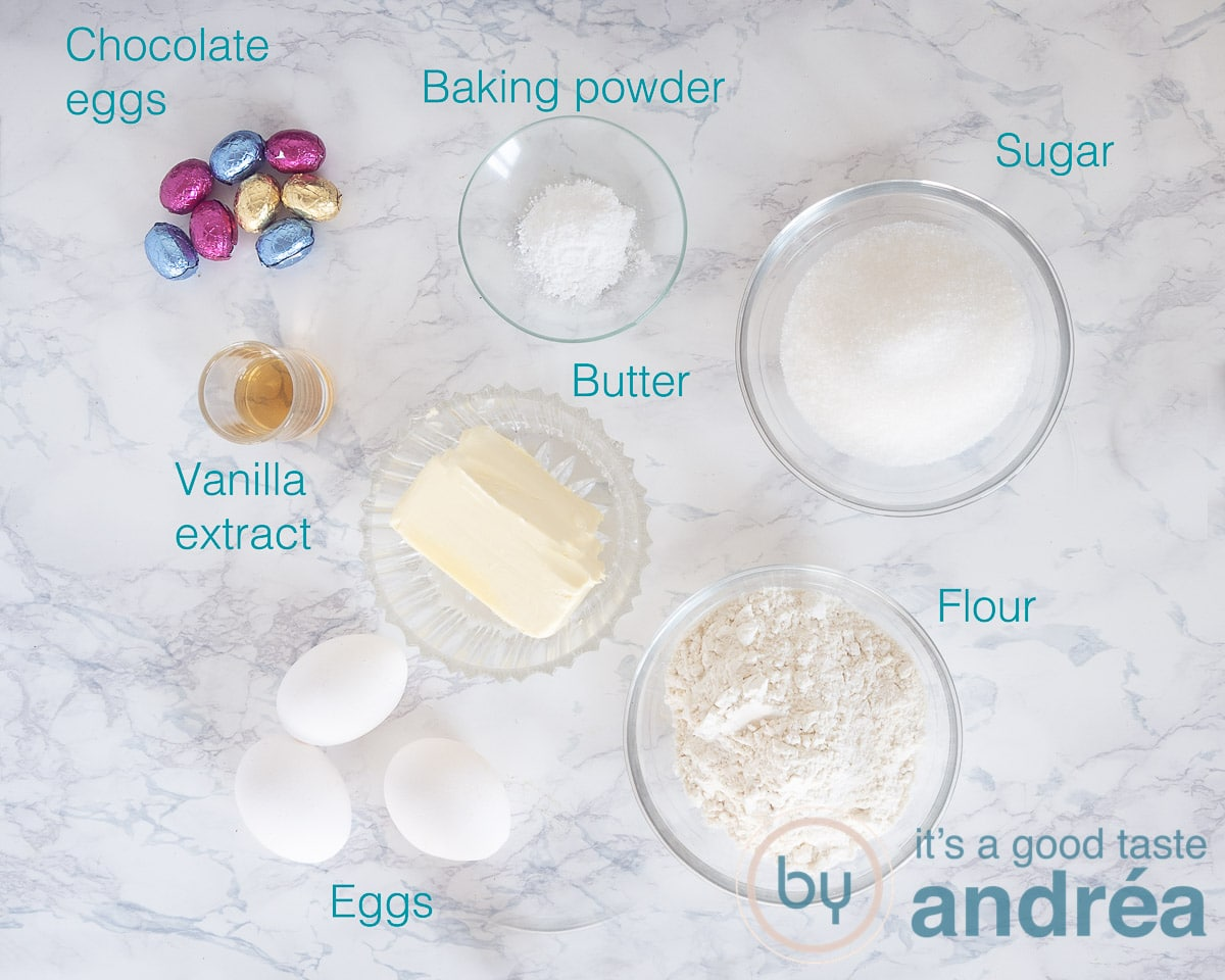 Ingredients for an Easter turban with chocolate eggs