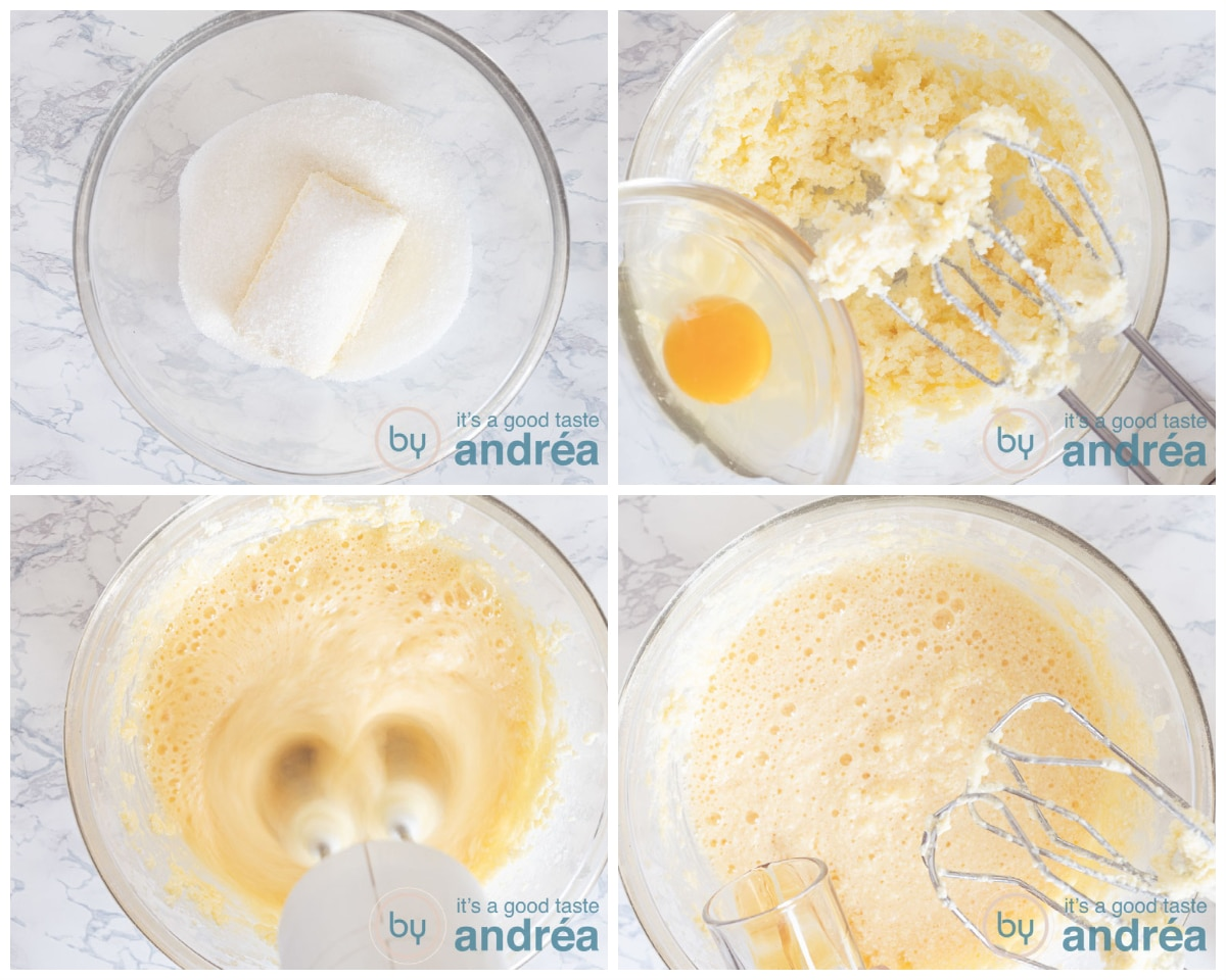 4 steps combining the first ingredients for the batter