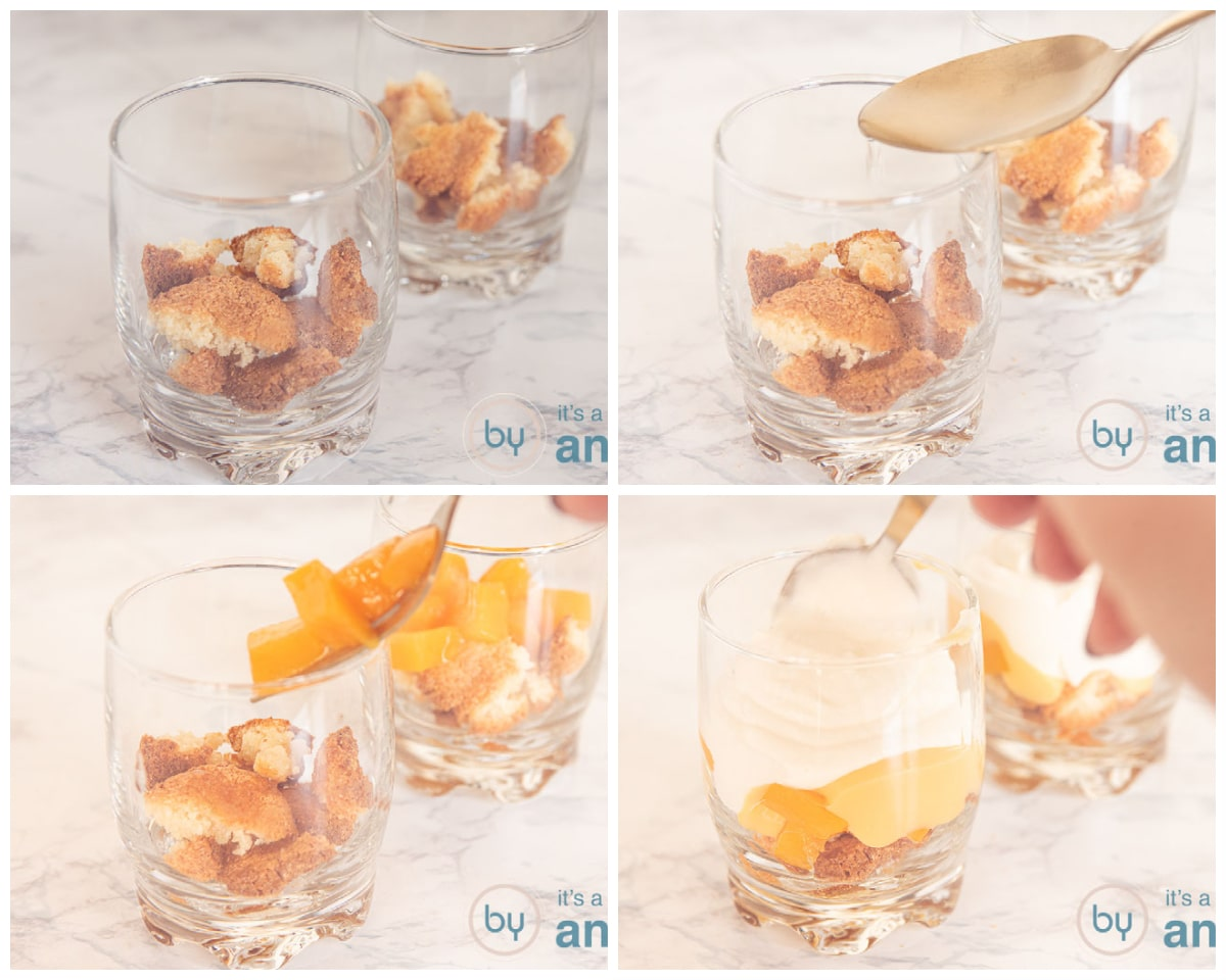 Prepare the first layers of cookies, syrup, peaches, eggnog and ricotta cream in a glass