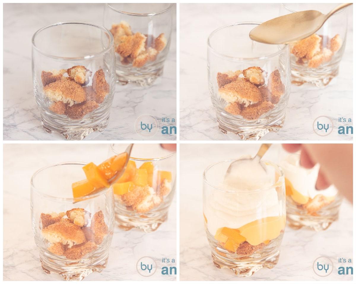Vul de glaasjes met bitterkoekjes, perziksap, perziken, advocaat en ricotta slagroom
