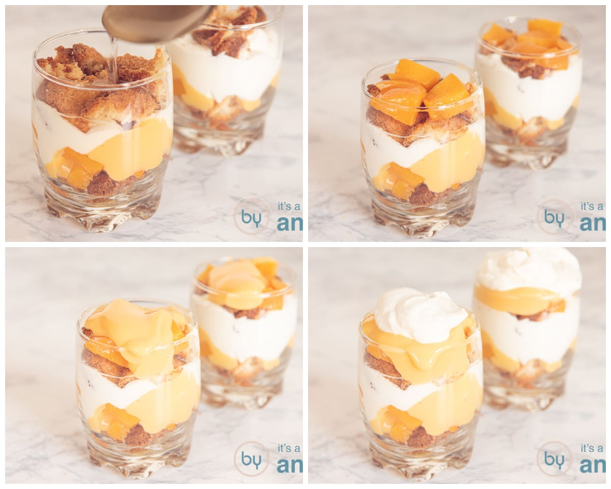 Add the second layer of cookies, peaches, eggnog and ricotta cream