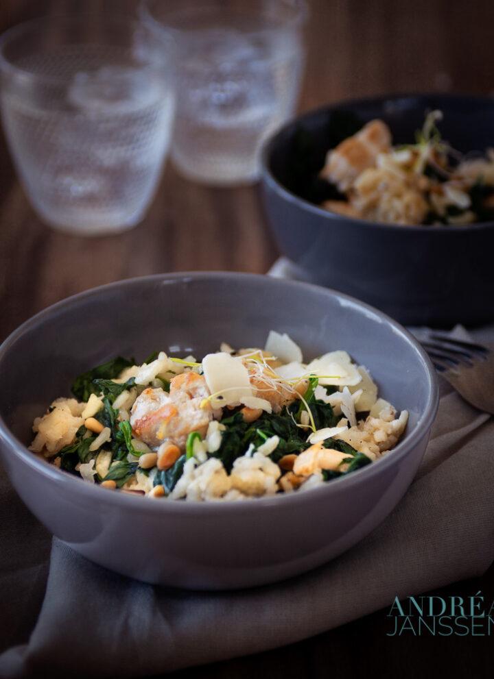 risotto met kip en spinazie
