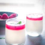 Limoen yoghurt ijs met frambozen