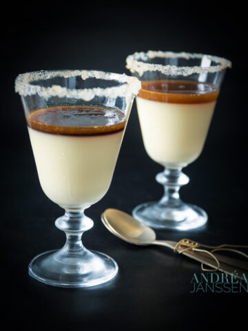 2 glasses panna cotta with gin sauce