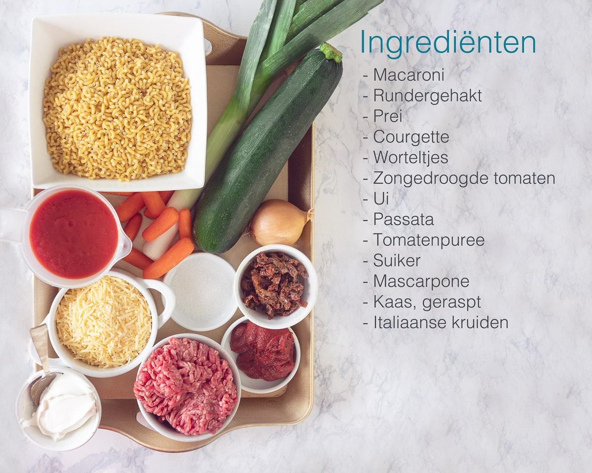 Ingredienten macaroni ovenschotel