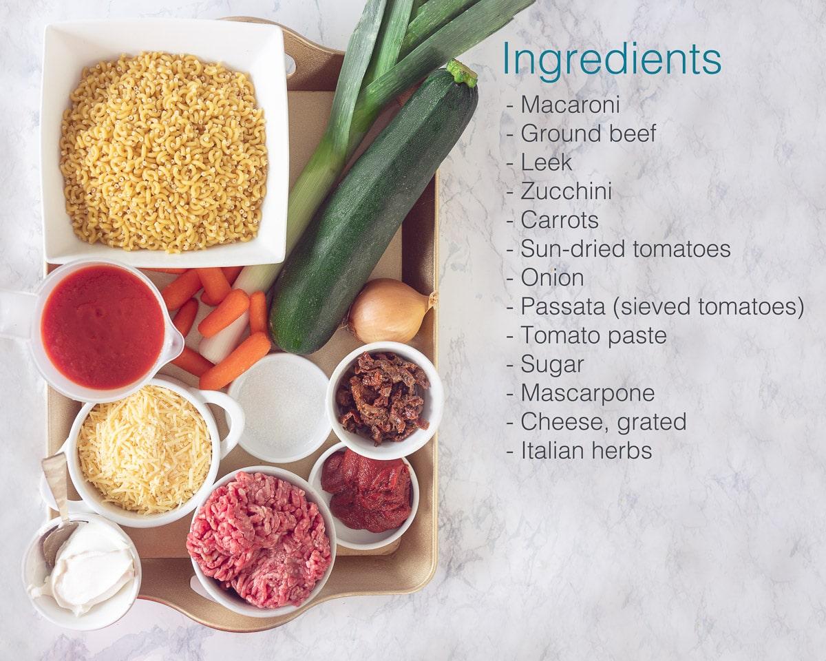 Ingredients tomato and mascarpone bake