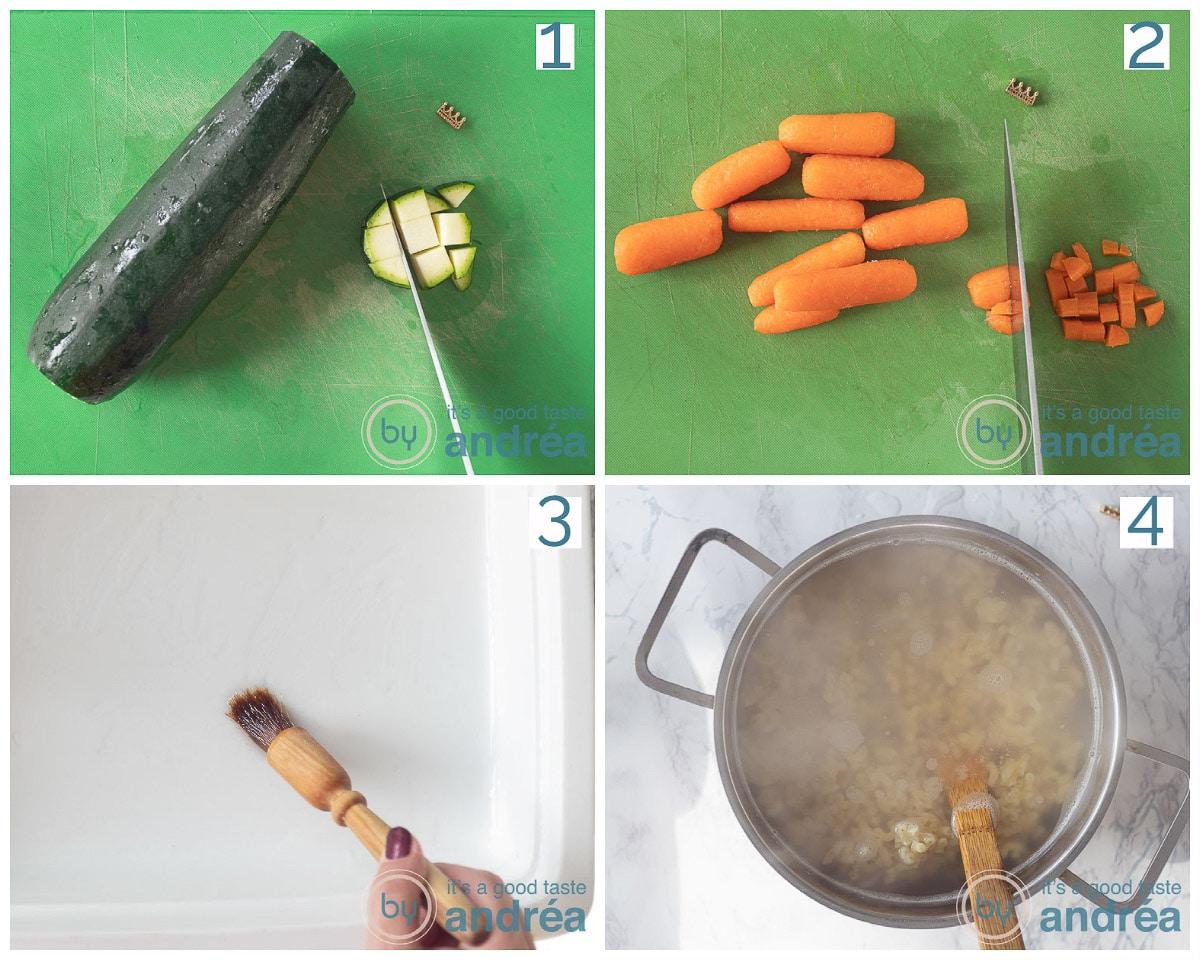 courgette en wortel aan het snijden. Ovenschaal aan het invetten. Macaroni aan het koken.