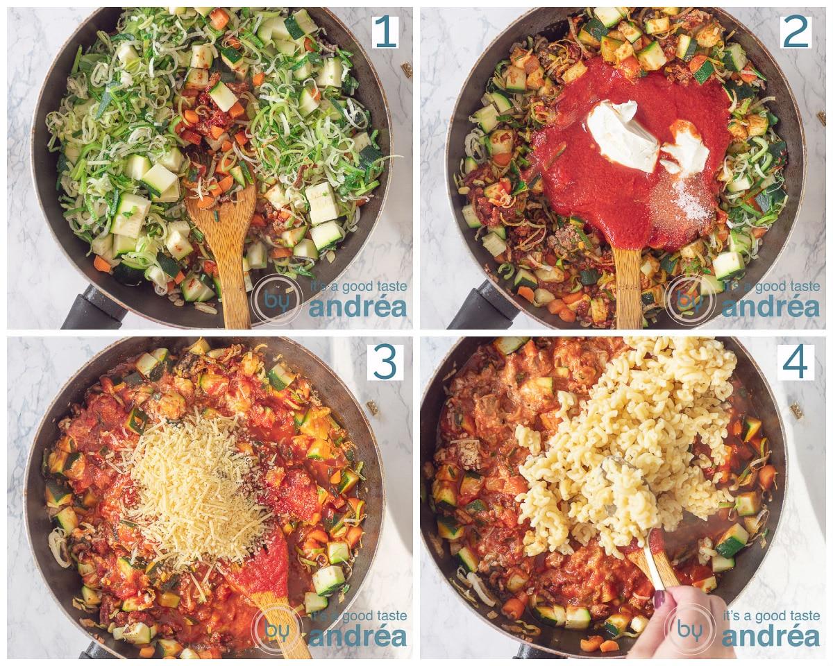 foto 1: bak de groenten, voeg de passata en mascarpone toe en vervolgens de macaroni. Meng alles door elkaar.