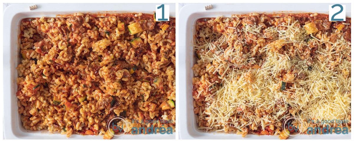 Een ovenschaal gevuld met het macaroni mengsel. De tweede ovenschaal bestrooid met kaas