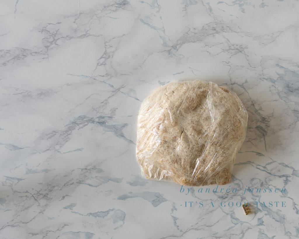 Wrap the dough in plastic foil
