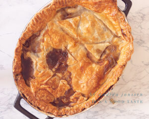 Guinness and steak pie from the oven