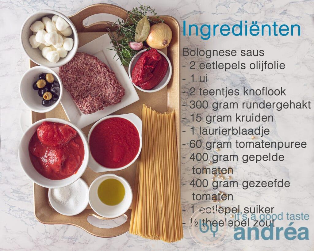 Ingrediënten nodig voor de bolognese saus