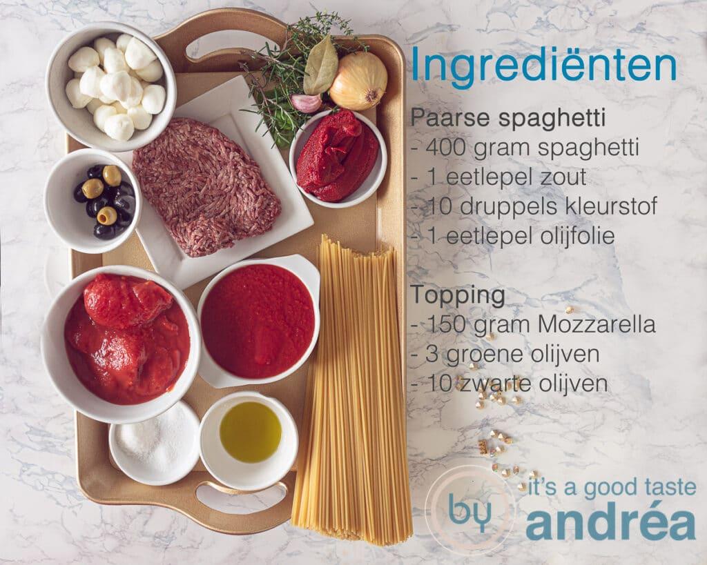Ingrediënten spaghetti en topping
