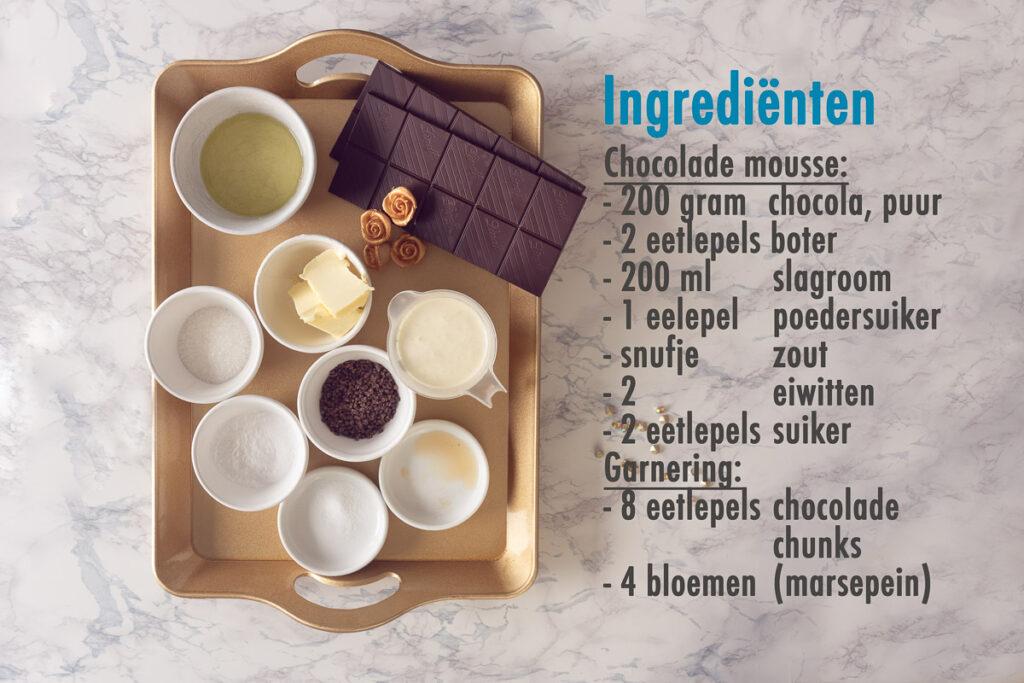 Ingrediënten luchtige chocolade mousse