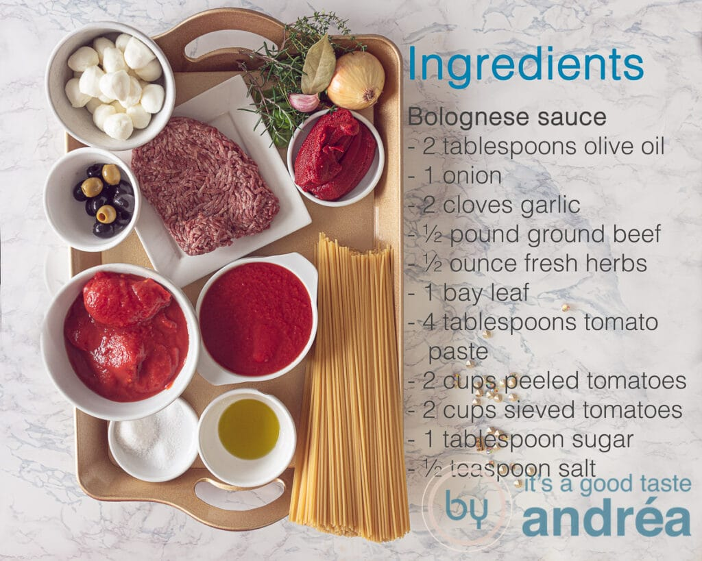 Ingredients for the bolognese sauce