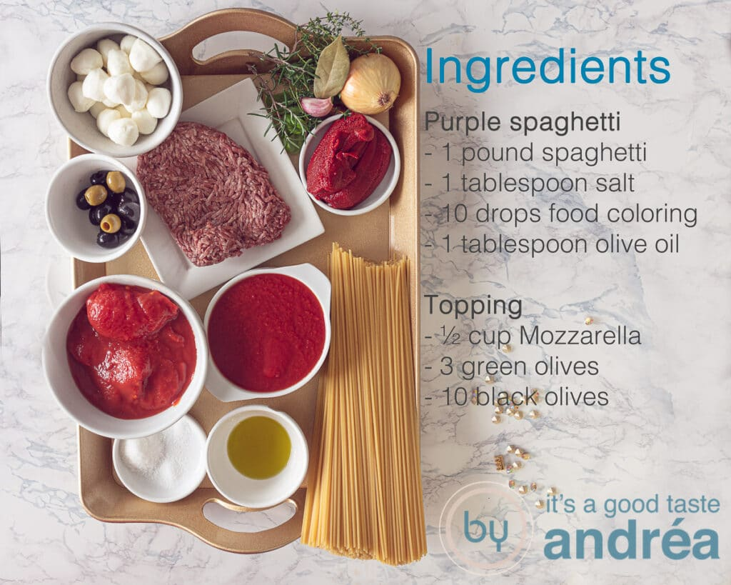 Ingredients purple spaghetti and topping