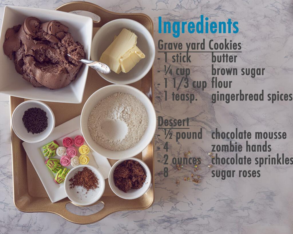 Ingredients Graveyard dessert with gingerbread cookies