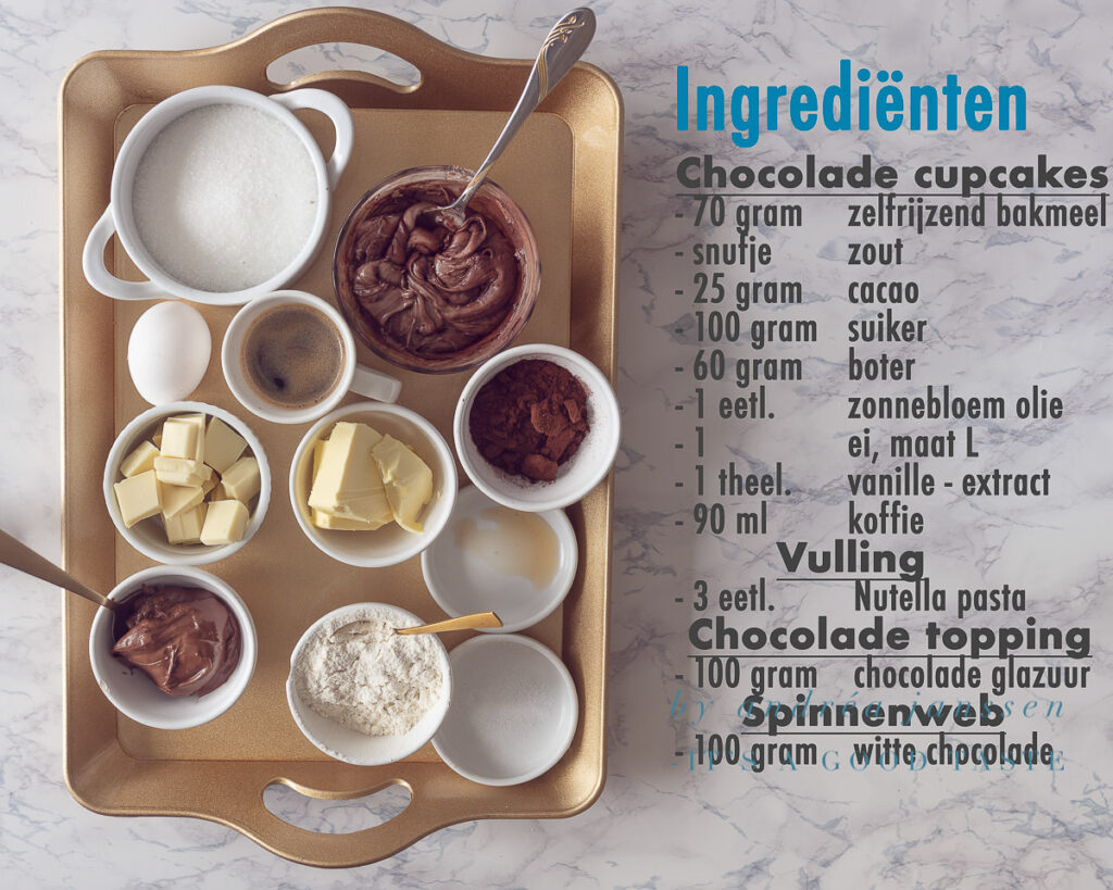 Ingrediënten Halloween recept Nutella cupcakes met chocolade